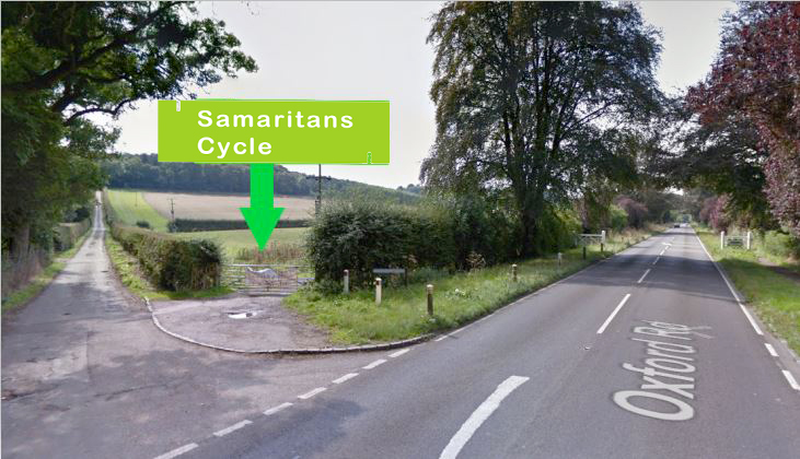 car park entrance of the Samaritans Cycle